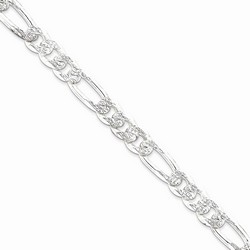 10.5 mm Pave Flat Figaro Chain in 925 Sterling Silver