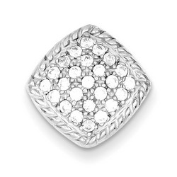 Square CZ Chain Slide in 925 Sterling Silver