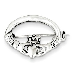 Claddagh Pin 21.5mm wide x 16.5mm height in 925 Sterling Silver