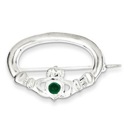 Green Synthetic Stone Claddagh Pin in 925 Sterling Silver