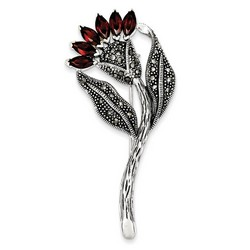Marcasite and Red CZ Flower Pin in 925 Sterling Silver