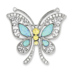 Blue Opal with Yellow and Clear CZ Butterfly Pin in 925 Sterling Silver