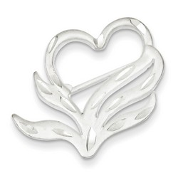 Satin Finish Diamond Cut Heart Pin in 925 Sterling Silver
