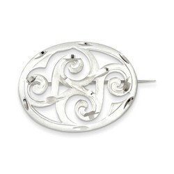Satin Finish Diamond Cut Scroll Pin in 925 Sterling Silver