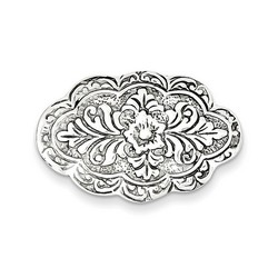 Antiqued Scalloped Oval Pin in 925 Sterling Silver