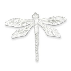 Satin Finish Diamond Cut Dragon Fly Pin in 925 Sterling Silver
