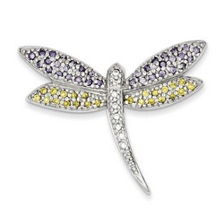 Yellow and Clear CZ Dragonfly Pin in 925 Sterling Silver