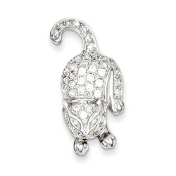 CZ Cat Pin in 925 Sterling Silver