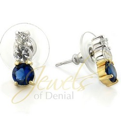 Sapphire CZ Earrings in 925 Sterling Silver