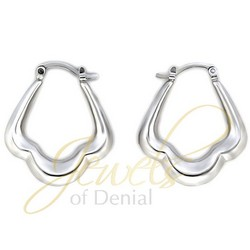 Scalloped Hoop Earrings in 925 Sterling Silver