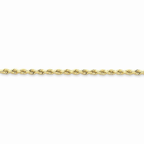 14k Yellow Gold Handmade Diamond Cut Rope Chain 3 mm Lobster Clasp