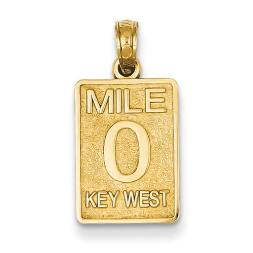 14k Yellow Gold Mile 0 Key West Mile Marker Pendant 15x11 mm 1.14 gr Made in USA