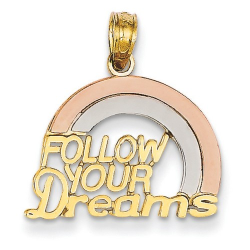 14k Yellow Gold Follow Your Dreams Rainbow Pendant 15x20 mm 1.12 gr Made in USA