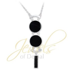 Black AGATE Necklace with Chain in 925 Sterling Silver