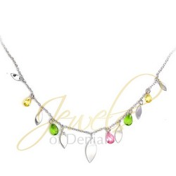 Briolette Necklace with CZs 18 inch 925 Sterling Silver