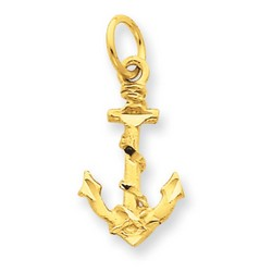 14k Yellow Gold Anchor Charm 17x10 mm 0.79 gr *** Made in USA