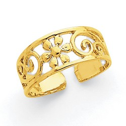 14k Yellow Gold Daisy And Scroll Pattern Adjustable Toe Ring