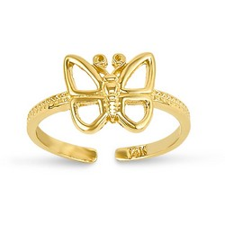 14k Yellow Gold Open Butterfly Adjustable Toe Ring