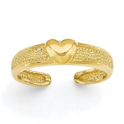 14k Yellow Gold Heart Adjustable Toe Ring With Dimpled Band