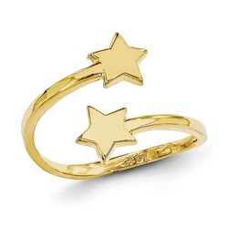 14k Yellow Gold Double Solid Stars Adjustable Toe Ring