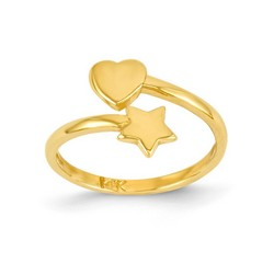 14k Yellow Gold Solid Heart And Star Adjustable Toe Ring