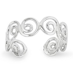 14k White Gold Fancy Swirl Adjustable Toe Ring