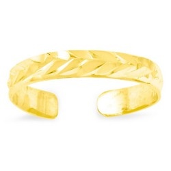 14k Yellow Gold Diamond-Cut Leaf Pattern Adjustable Toe Ring