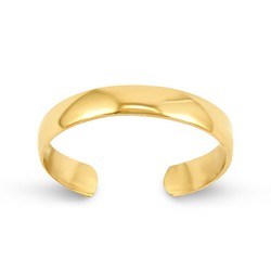 14k Yellow Gold Plain High Polished Adjustable Toe Ring