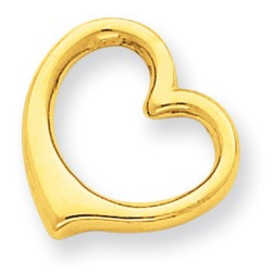 14k Yellow Gold 3-D Floating Heart Slide 12x13 mm 0.93 gr *** Made in USA