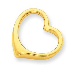 14k Yellow Gold 3-D Floating Heart Slide 15x16 mm 2.42 gr *** Made in USA