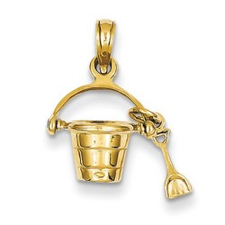 14k Yellow Gold 3-D Beach Bucket with Shove Charm 15x12 mm 1.44 gr * Made in USA