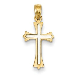 14k Two-Tone Gold Budded Cross Pendant 17 x 11 mm *** MADE IN USA