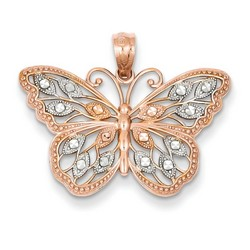14k Rose Gold Diamond Cut Butterfly Pendant 15x26 mm 1.42 gr