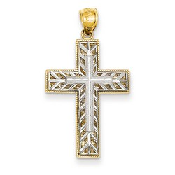 14k Two-Tone Gold Latin Cross Pendant 26 x 20 mm