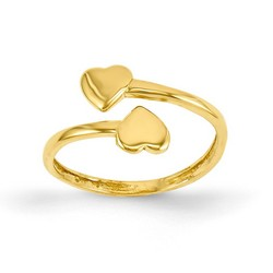 14k Yellow Gold Double Solid Hearts Adjustable Toe Ring