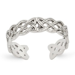14k White Gold Medium Celtic Knot Adjustable Toe Ring