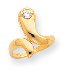 14k Yellow Gold Cobra Style CZ Adjustable Toe Ring