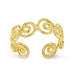 14k Yellow Gold Fancy Swirl Adjustable Toe Ring