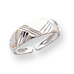 14k White Gold Fancy Etched Solid Adjustable Toe Ring