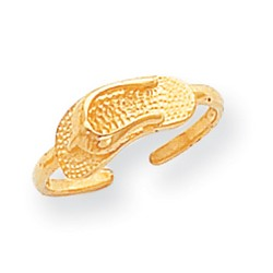 14k Yellow Gold Sandal Adjustable Toe Ring With Dimpled Pattern