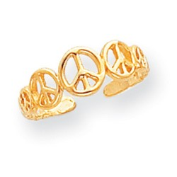 14k Yellow Gold Multiple Peace Signs Adjustable Toe Ring