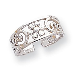 14k White Gold Daisy And Scroll Pattern Adjustable Toe Ring