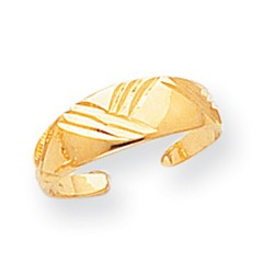 14k Yellow Gold Fancy Etched Solid Adjustable Toe Ring