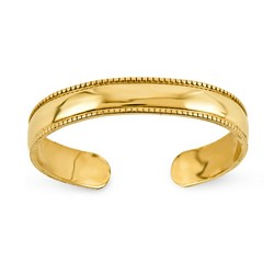 14k Yellow Gold Polished Mill Grain Adjustable Toe Ring