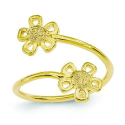 14k Yellow Gold Double Flowers With Open Petals Adjustable Toe Ring