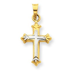 14k Two-Tone Gold Latin Cross Charm 16 x 11 mm