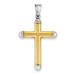 14k Two-Tone Gold 3-D Latin Cross Pendant 43 x 31 mm