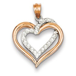 14k Two-tone Gold Diamond Cut Heart Pendant 18x20 mm 1.17 gr