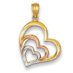 14k Two-tone Gold Hearts Pendant 20x17 mm 0.88 gr *** Made in USA