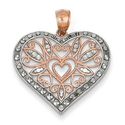 14k Rose Gold Diamond Cut Fancy Heart Pendant 20x25 mm 1.6 gr